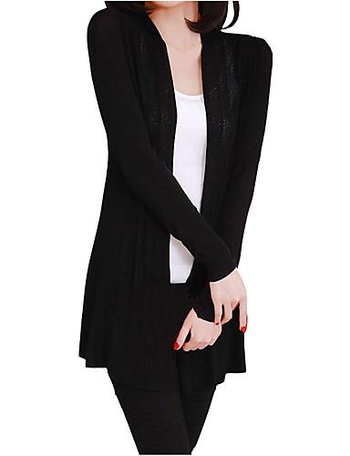 povoljno Ženski džemperi-Žene Jednobojni Dugih rukava Kardigan, V izrez Proljeće Crn One-Size