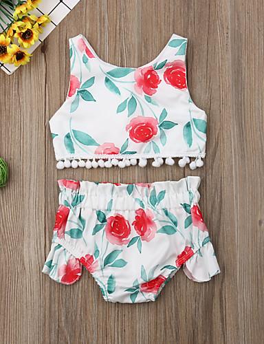 סט של בגדים כותנה קצר ללא שרוולים פרנזים / דפוס פרחוני פעיל / בסיסי בנות תִינוֹק / פעוטות