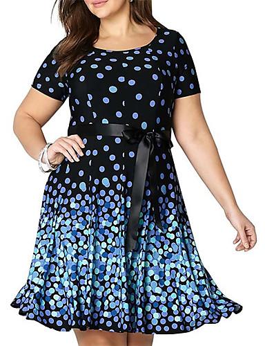 voordelige Grote maten jurken-Dames Boho Elegant Schede Wijd uitlopend Jurk - Polka dot, Patchwork Trekkoord Boven de knie