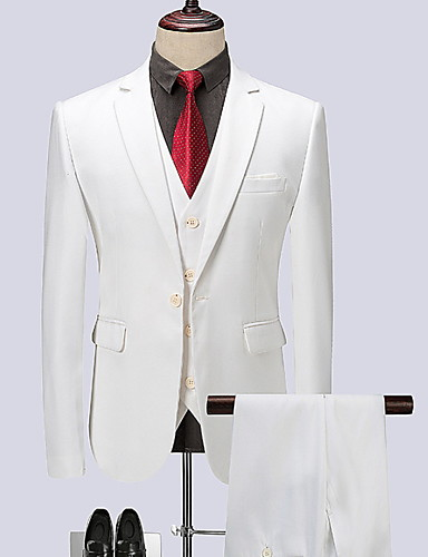 voordelige Herenblazers & kostuums-Heren Grote maten Pakken, Effen Overhemdkraag Polyester Wit / Slank