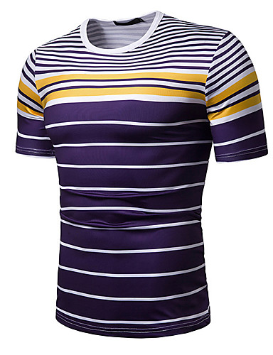 cheap Men's Clothing-Men's Daily Casual Basic / Street chic Cotton T-shirt - Striped Print Round Neck White / Short Sleeve
