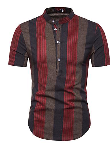 voordelige Herenoverhemden-Heren Overhemd Gestreept Bruin L