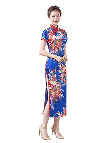 halpa Etniset & Cultural Puvut-Aikuiset Naisten Kiinalaistyyli Cheongsam Käyttötarkoitus Juhlat Club Virka 100% polyesteri Midi Cheongsam