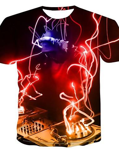 voordelige Heren T-shirts & tanktops-Heren Standaard / overdreven Print T-shirt Geometrisch / Kleurenblok / 3D Rood XXXXL