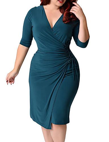 preiswerte Übergrössen-Damen-Damen Übergrössen Baumwolle Bodycon Kleid Asymmetrisch V-Ausschnitt