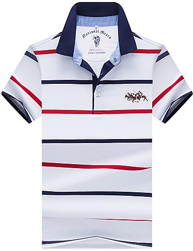 voordelige Herenpolo's-Heren Standaard Polo Katoen Gestreept Overhemdkraag blauw / Korte mouw