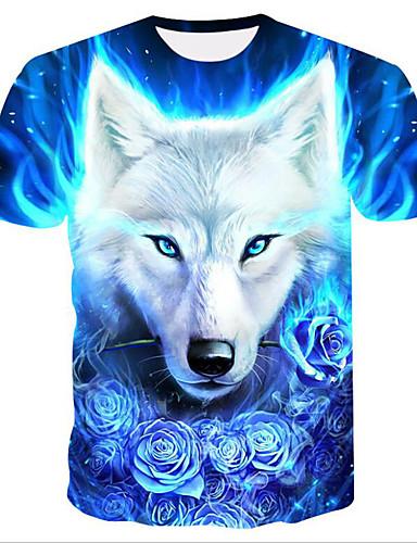 voordelige Heren T-shirts & tanktops-Heren Standaard / Street chic Print T-shirt Bloemen / 3D / dier Ronde hals blauw / Korte mouw
