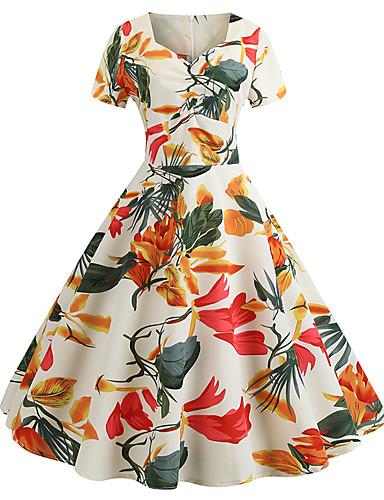 billige Blomstrede mønstre-Dame Vintage Skede Kjole - Geometrisk, Trykt mønster Knælang