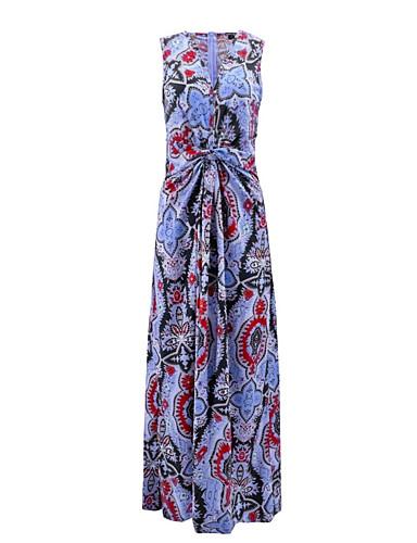 voordelige Maxi-jurken-Dames Elegant Recht Jurk - Geometrisch, Print Maxi