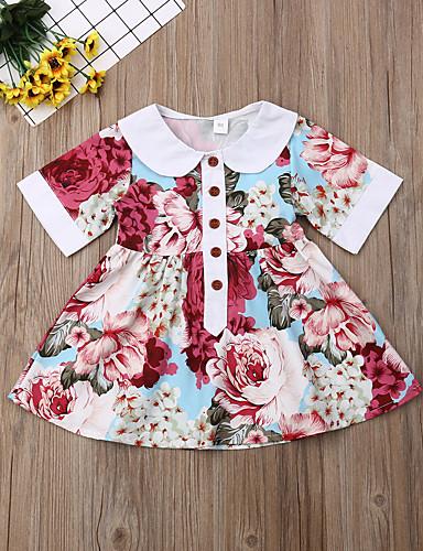 שמלה מעל הברך שרוולים קצרים דפוס פרחוני פעיל / מתוק בנות ילדים / פעוטות / כותנה