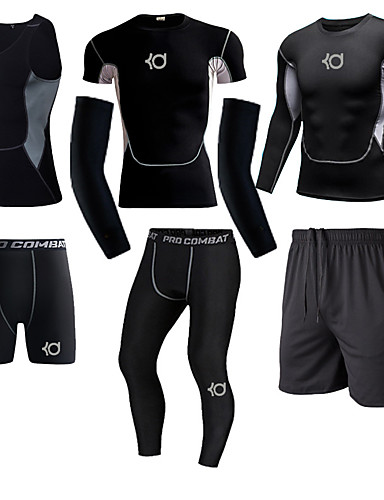 cheap Compression Clothing-Men's Compression Shirt Compression Pants Long Pant Compression Compression Clothing Warm Ventilation Quick Dry Comfortable Black / Silver Outdoor Exercise Multisport Outdoor Micro-elastic
