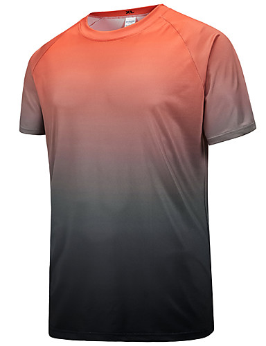 cheap Outdoor Clothing-Men's Hiking Tee shirt Short Sleeve Outdoor Breathable Ventilation Stretchy Sweat-wicking Tee / T-shirt Autumn / Fall Spring Terylene Blue Grey Light Green Climbing Camping / Hiking / Caving Traveling