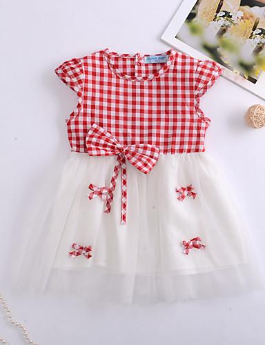 שמלה שרוולים קצרים Houndstooth / פירות בנות תִינוֹק