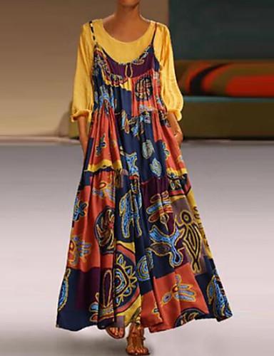 abordables Robes Femme-Femme Basique Maxi Deux Pièces Robe Géométrique Marine Jaune Vin XXXL XXXXL XXXXXL Manches Longues