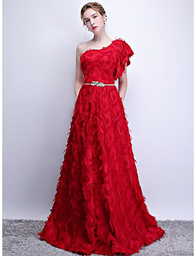 452cf62ae438f A-Line One Shoulder Sweep / Brush Train Lace Formal Evening Dress with  Feathers / Fur by LAN TING Express