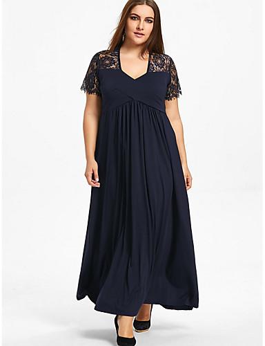 voordelige Grote maten jurken-Dames Grote maten Wijd uitlopend Jurk V-hals Maxi