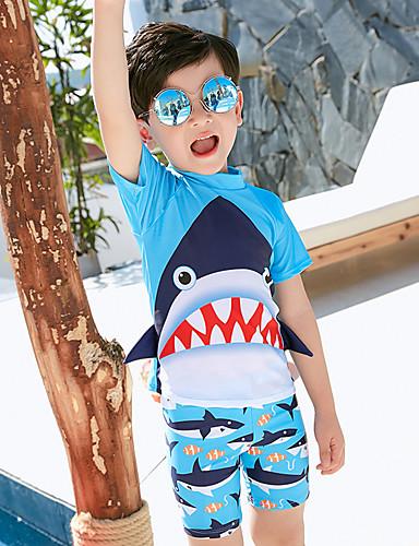 בגדי ים כותנה גיאומטרי בנים ילדים