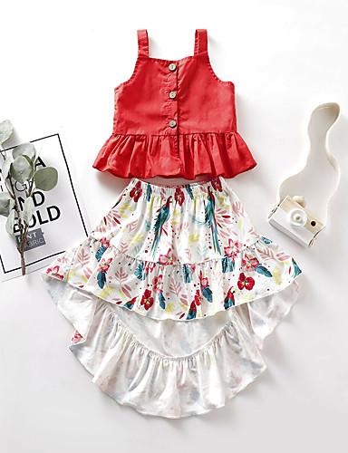 סט של בגדים כותנה קצר ללא שרוולים קפלים פרחוני פעיל / סגנון רחוב בנות תִינוֹק / פעוטות