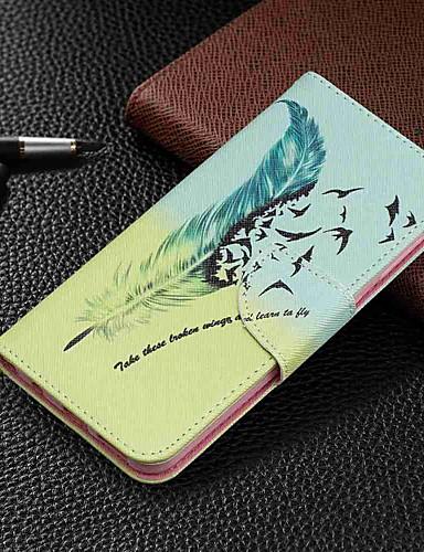 מגן עבור Samsung Galaxy Galaxy A7(2018) / Galaxy A10 (2019) / Galaxy A30 (2019) ארנק / מחזיק כרטיסים / עם מעמד כיסוי מלא חיה / נוצות קשיח עור PU