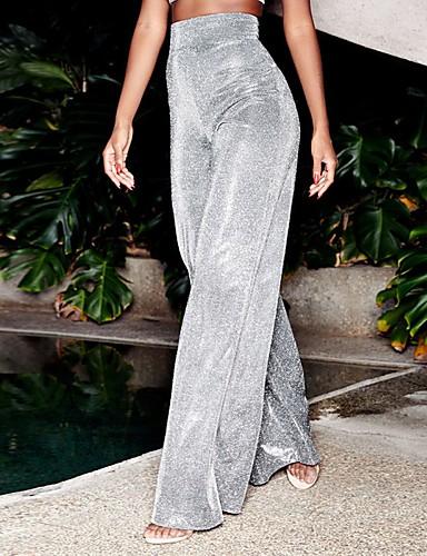 abordables Pantalons Femme-Femme Chic de Rue Ample Pantalon - Couleur Pleine Paillettes Taille haute Noir Argent S M L