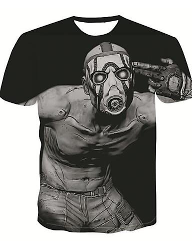 voordelige Heren T-shirts & tanktops-Heren Standaard / Street chic Print T-shirt 3D / Cartoon Ronde hals Zwart / Korte mouw
