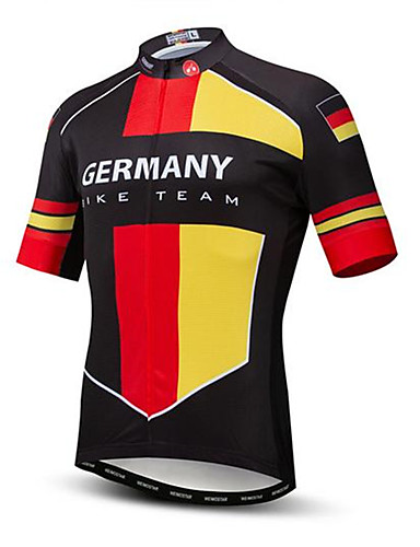 ieftine Ciclism-21Grams Bărbați Manșon scurt Jerseu Cycling Roșu / galben Germania Steag Național Bicicletă Topuri Rezistent la UV Respirabil Confortabil la umezeală Sport Terilenă Ciclism montan Ciclism stradal