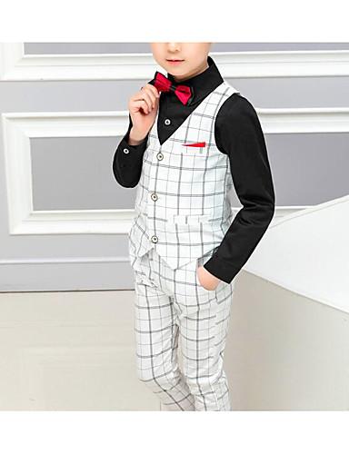 לבן / שחור כותנה / פוליסטר חליפה לנושא הטבעת  - 1set כולל וסט / Pants / עניבת פרפר