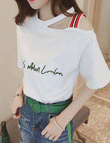 billige Dametopper-T-skjorte Dame - Bokstaver, Lapper / Broderi Gatemote / Elegant Grønn US0