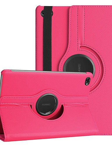 Кейс для Назначение Huawei Huawei Mediapad M5 Lite 10 / MediaPad M5 10 (Pro) / MediaPad M5 10 Поворот на 360° / Защита от удара / со стендом Чехол Однотонный Твердый Кожа PU