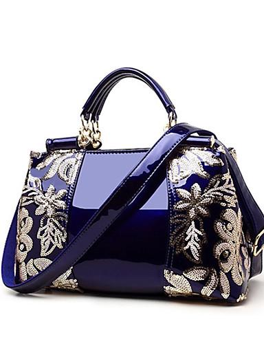 povoljno Elegantne ženske torbice-Žene Šljokice / Patent-zatvarač PU Torba s ručkom Jedna barva Crn / Lila-roza / Zlato / Jesen zima
