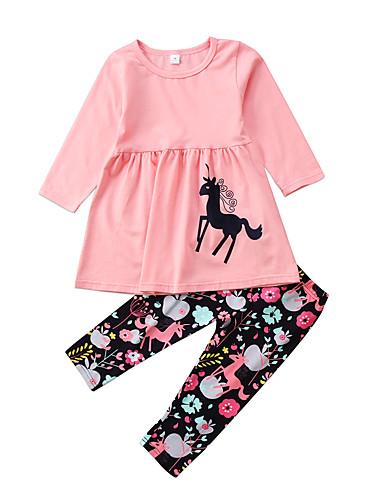 סט של בגדים כותנה שרוול ארוך דפוס פעיל / בסיסי בנות ילדים / פעוטות
