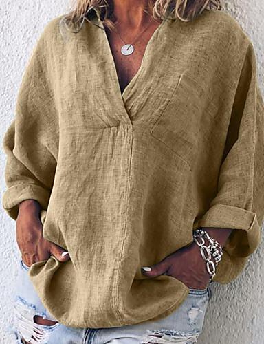 abordables Hauts pour Femmes-Tee-shirt Grandes Tailles Femme, Couleur Pleine Sortie Chic de Rue / Elégant Col en V / Col de Chemise énorme Fuchsia
