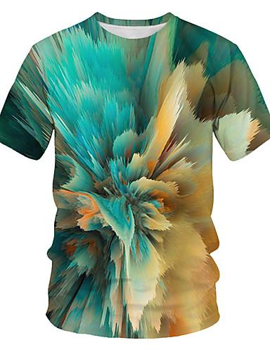 billige Overdele til damer-Løstsiddende Dame - Farveblok / 3D / Grafisk Trykt mønster Gade / overdrevet Natklub T-shirt Lysegrøn