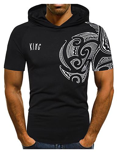 voordelige Heren T-shirts & tanktops-Heren Standaard / Street chic Print T-shirt Katoen Kleurenblok / Tribal Capuchon Donkergrijs / Korte mouw