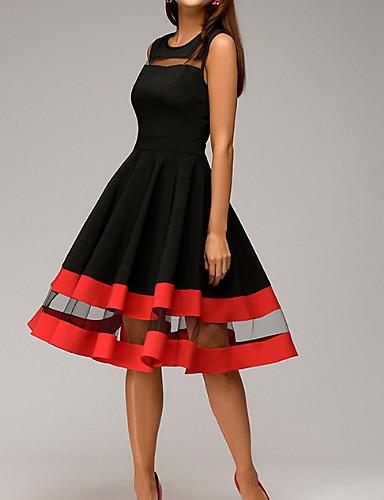 voordelige Grote maten jurken-Dames A-lijn Jurk - Kleurenblok, Patchwork  Tot de knie / Feest / Uitgaan