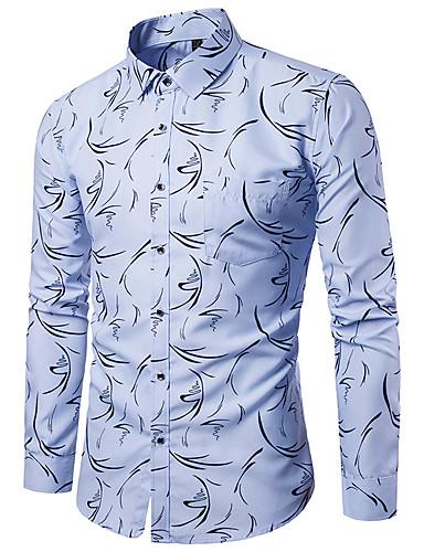 voordelige Herenoverhemden-Heren Punk & Gothic Print Overhemd Club Polka dot / Grafisch / Tribal Klassieke boord Wit / Lange mouw