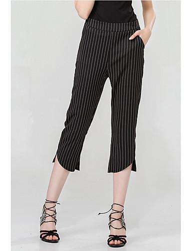 billige Tights til damer-Dame Grunnleggende Chinos Bukser - Stripet Svart S M L