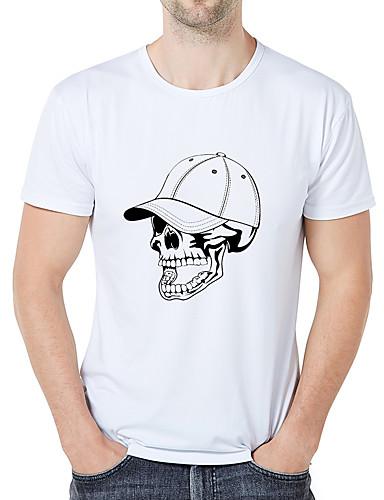 cheap Men's Tees & Tank Tops-Men's Casual / Daily Athleisure Business / Vintage T-shirt - Graphic / Cartoon / Skull Print White XXL