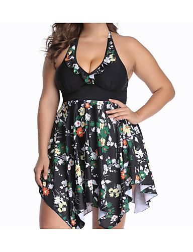 af9d77b388 Women's Black Skirt One-piece Swimwear - Floral XXXXL XXXXXL XXXXXXL Black