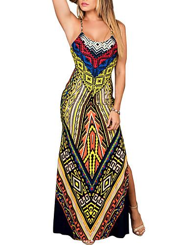 6e32ef46368 billige Kjoler-Dame Basale Gade Bodycon Skede Kjole - Geometrisk Tribal,  Trykt mønster Midi