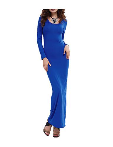 voordelige Maxi-jurken-Dames Club Strand Slank Bodycon Schede Jurk - Effen Maxi Blauw