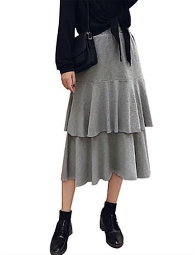 billige Skjørt-Dame Vintage / Gatemote Bomull A-linje / Huske Skjørt Ensfarget Multi Layer Svart Lyseblå En Størrelse