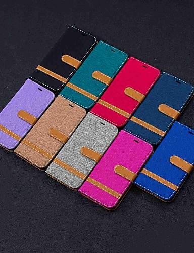 Кейс для Назначение LG LG Stylo 5 / LG K40 / LG K10 2018 Кошелек / Бумажник для карт / со стендом Чехол Плитка Твердый текстильный / LG G6