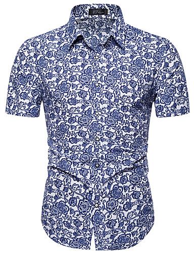 voordelige Herenoverhemden-Heren Street chic Grote maten - Overhemd Bloemen Klassieke boord Slank blauw / Korte mouw