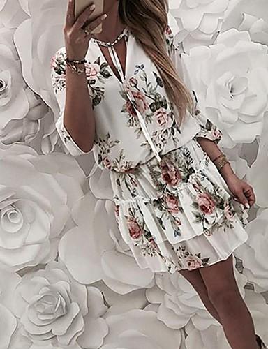 저렴한 미니 드레스-여성용 A 라인 드레스 - 플로럴 미니