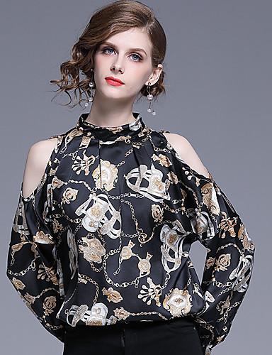 abordables Hauts pour Femme-Chemise Femme, Géométrique Imprimé Rétro Vintage Noir
