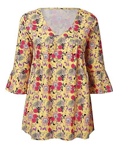 abordables Hauts pour Femmes-Tee-shirt Femme, Fleur Mosaïque / Imprimé Bohème Col en V Ample Rouge