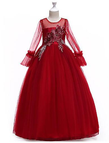 נסיכה עד הריצפה שמלה לנערת הפרחים  - פוליאסטר / טול שרוול ארוך עם תכשיטים עם אפליקציות / פרטים מפנינה / חגורה על ידי LAN TING Express