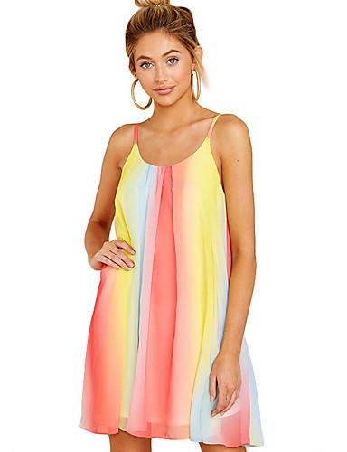 hesapli Kadın Elbiseleri-Kadın's A Şekilli Elbise - Çizgili, Desen Askılı Diz üstü