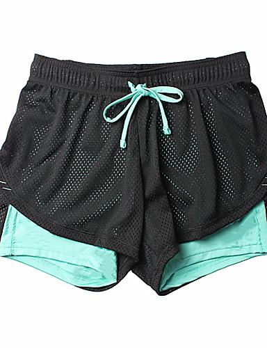 preiswerte Visors Kleidung-Damen 2 in 1 Laufschuhe Sport Shorts / Laufshorts Yoga Laufen Fitness Sportkleidung Leicht Atmungsaktiv Weich Schweißableitend Sanft Dehnbar